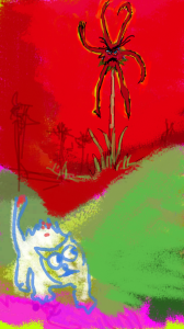 I, uhhh... drew this in my spare time. You see, in the magical garden of evil flowers, there is HATE in the soil. And the flowers want to EAT cats.      This one got nipped. So he learned his lesson about the garden of evil flowers. I do not think there is one flower THERE who is nice at all.